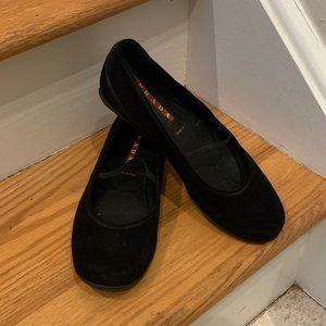 Prada Sport Black Suede MaryJane Ballet Flat